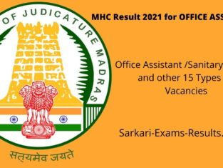 MHC Result 2021 for OFFICE ASSISTANT